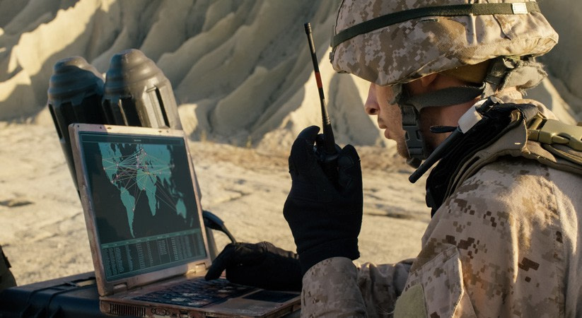 soldier on laptop